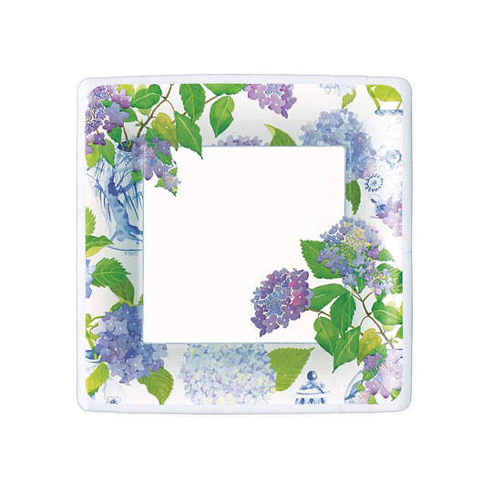 HYDRANGEAS AND PORCELAIN SQUARE PAPER SALAD AND DESSERT PLATES