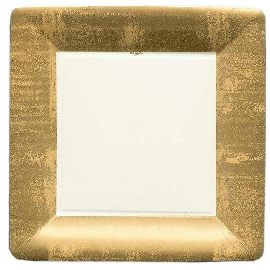 GOLD LEAF SQUARE PAPER DINNER PLATES
