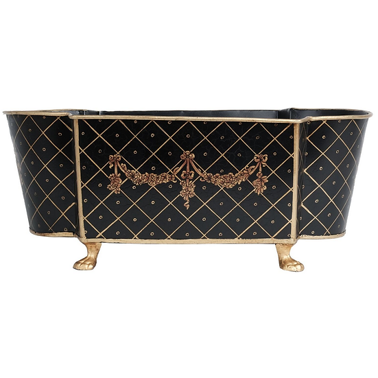 LARGE BLACK/GOLD SCALLOPED PLANTER