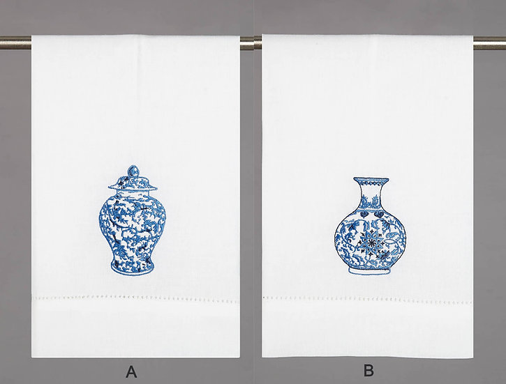 CHINOISERIE VASE GUEST TOWEL