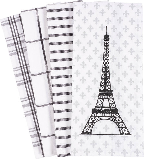 PARIS BLACK AND WHITE KITCHEN TOWELS, SET OF 4