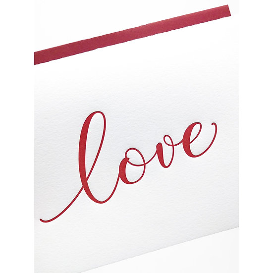 LOVE LETTERPRESS GREETING CARD WITH ENVELOPE