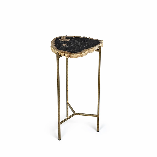 PORTO ALEGRE PETRIFIED WOOD SIDE TABLE - SHORT