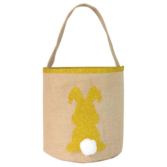 YELLOW GOLD SPARKLE BUNNY BURLAP TOTE