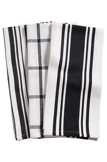 BLACK AND WHITE KITCHEN TOWELS, SET OF 3