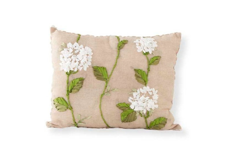LINEN PILLOW WITH HYDRANGEA EMBROIDERY