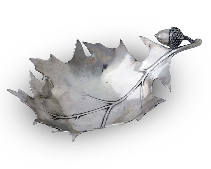 PEWTER FOREST LEAF DISH