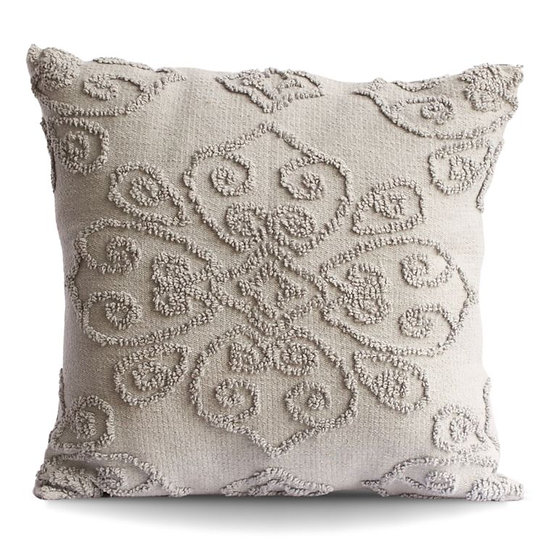 DAMASK GRAY TUFTED PILLOW