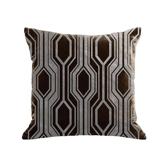 GEO PILLOW - CHOCOLATE / GUNMETAL FOIL