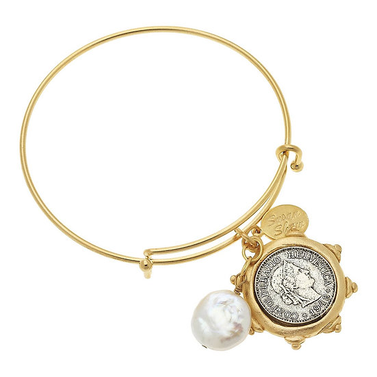 GOLD ADJUSTABLE BANGLE WITH FRENCH FRANC AND FRESHWATER COIN PEARL