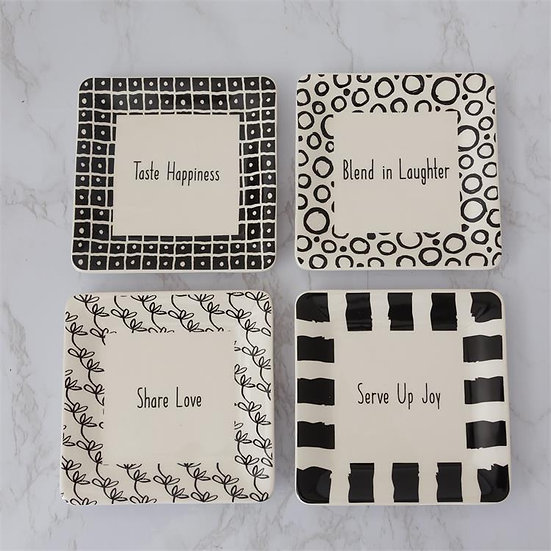 BLACK AND WHITE APPETIZER PLATES, SET OF 4