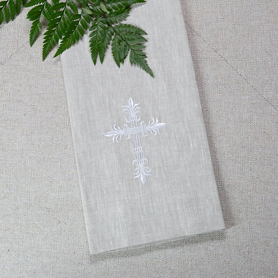 CROSS LINEN TOWEL - FLAX AND WHITE