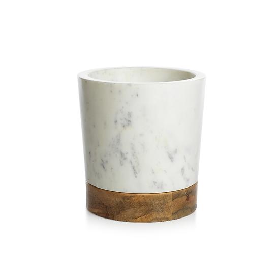 SAN RAMON WOOD AND WHITE MARBLE ICE BUCKET / WINE COOLER