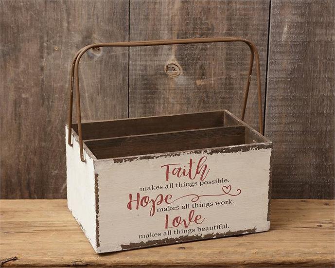 FAITH, HOPE, LOVE DIVIDED WOODEN BOX