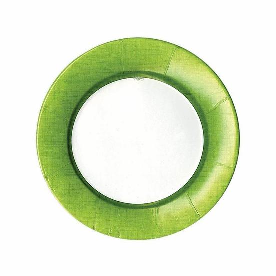LINEN BORDER PAPER SALAD AND DESSERT PLATES - MOSS GREEN