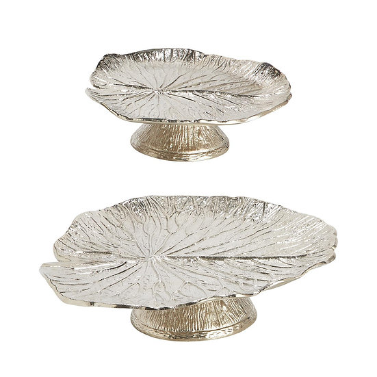 WATER LILY PEDESTAL TRAYS, SET OF 2