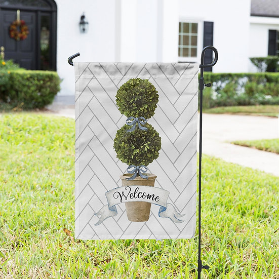 WELCOME TOPIARY DOUBLE-SIDED GARDEN FLAG AND FLAG HOLDER SET