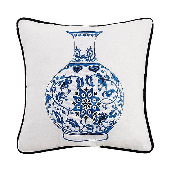 CHINOISERIE VASE EMBROIDERED PILLOW