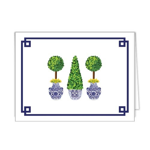 CHINOISERIE TOPIARY FOLDED NOTECARDS