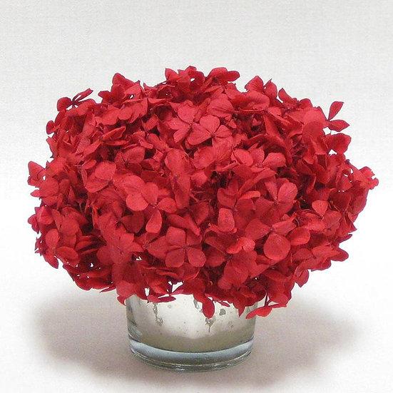 MINI PRESERVED RED HYDRANGEA IN MERCURY GLASS VOTIVE