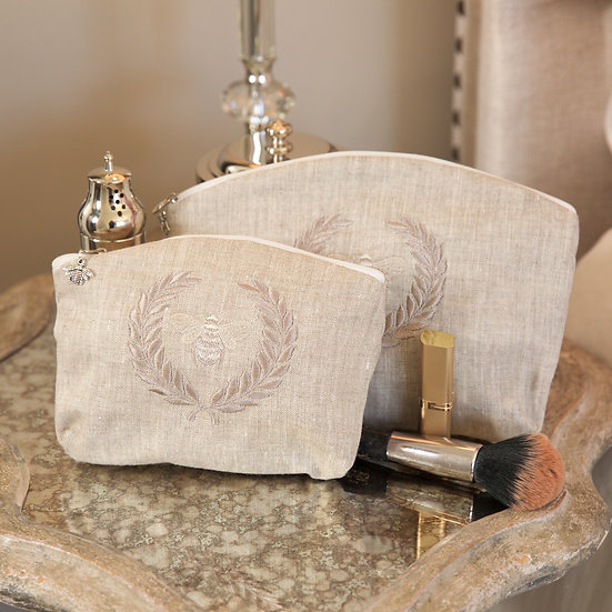 BUMBLE BEE LINEN MAKEUP BAGS, SET OF 2