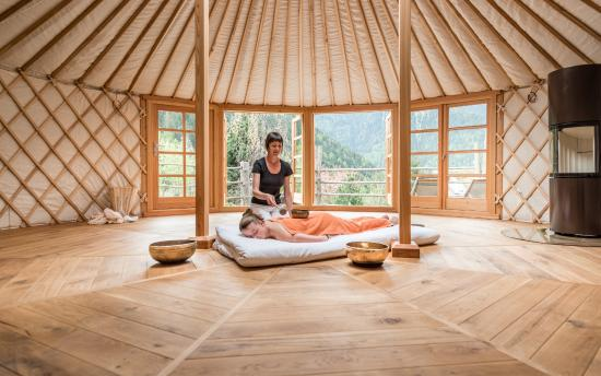 shiatsu massage in a yurt