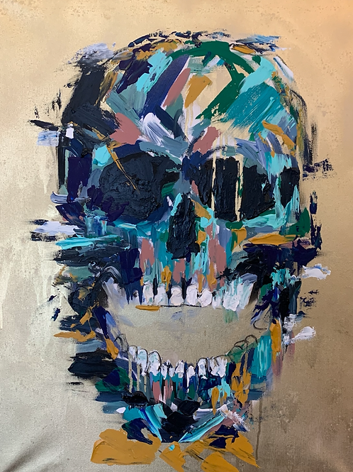 """Pintura """"Gold skull"""" - Vero Villarreal Sada"""
