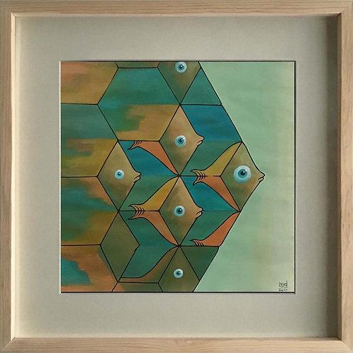 """Pintura """"Transmutación del hexágono II"""" - Raúl Sisniega"""