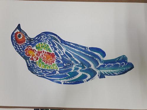 """Pintura """"Pájaro azul"""" - María Canfield"""