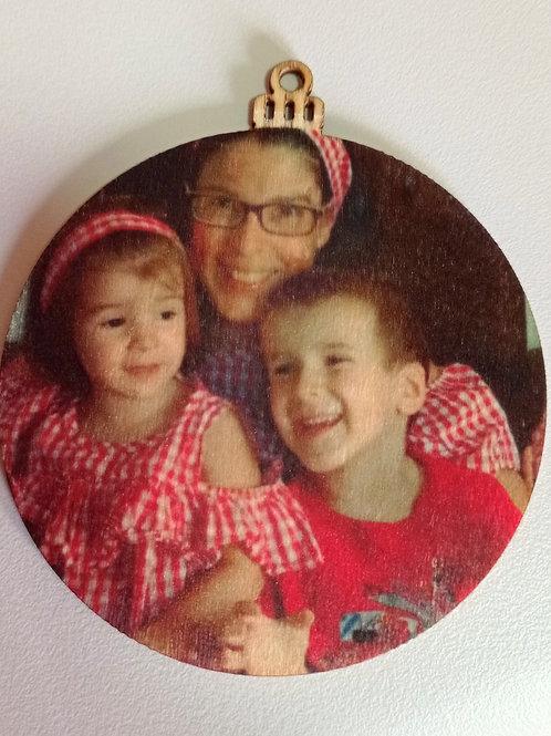 Bola de Navidad de madera con fotografía
