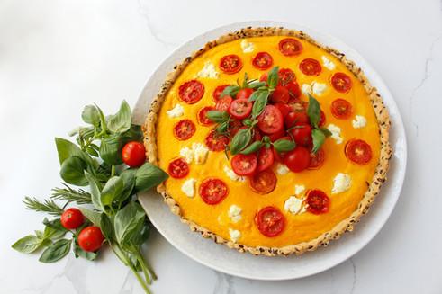Pumpkin, ricotta, tomato & almond tart