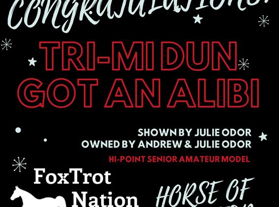 Tri-Mi Dun Got An Alibi Horse of the Yea