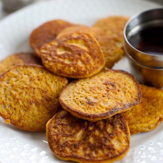 Happy Healthy Mama 2-ingredient sweet potato pancakes
