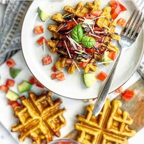 Savoury Bruschetta Sweet Potato Waffles