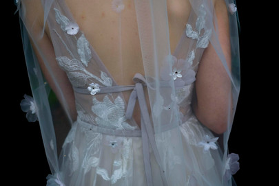 Ivory Italian Tulle short veil with purple 3D floral and Swarovski Detail.
