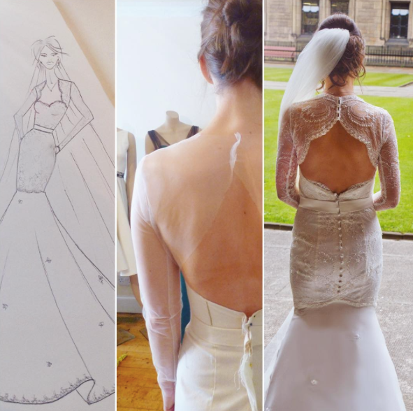Design Sketch, Mock Up & Final Gown