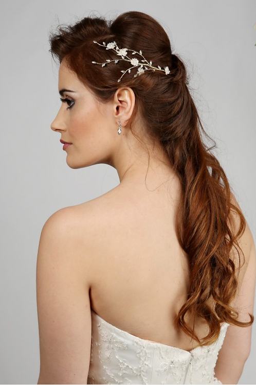 Delicate Floral & Crystal Hair Vine