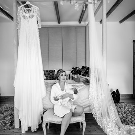 Bespoke Floral Lace and Silk Wedding Gown with custom 3D Floral Veil