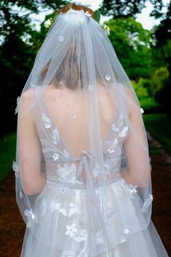 Bespoke Bridal Veil - 3D Floral Lace applique