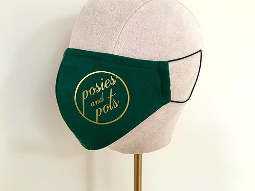 BOTTLE GREEN BRANDED PROFILE MASK