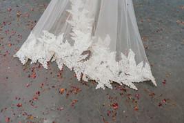 Leafy trimmed bespoke Italian tulle bridal cape.