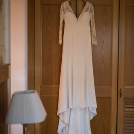 Bespoke Bride Dress - Chantilly lace detailing on a soft crepe satin gown.