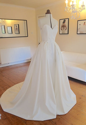 Beapoke wedding dress process. The mock up, a replica dres made from cotton to perfect the fit and style of each gown.