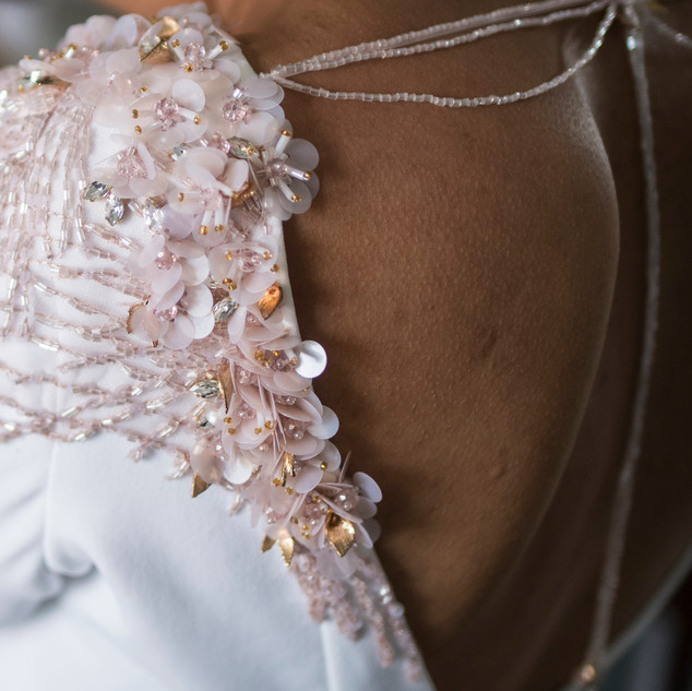Bespoke Wedding Dress - A soft crepe gown with hand beaded and embellished shoulder details.