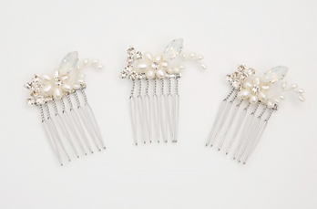 Set of Three Pearl & Opal Mini Combs