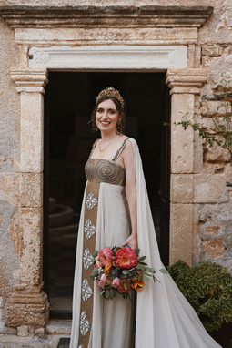 Stunning Bespoke Grecian Bridal Cape created to match wedding dress.