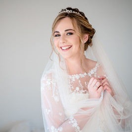 Bespoke Floral Lace and Silk Wedding Gown