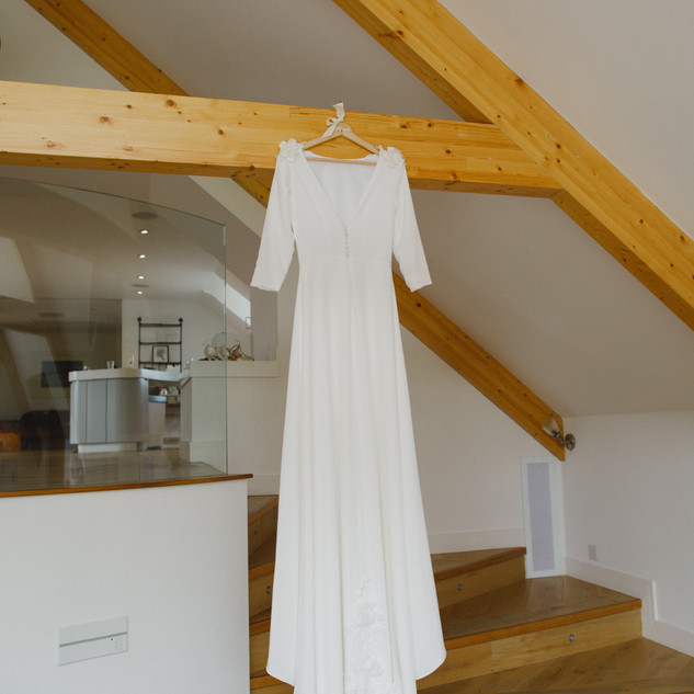 Bespoke Wedding Dress - Silk gown with 3D floral detailing on train & shoulders