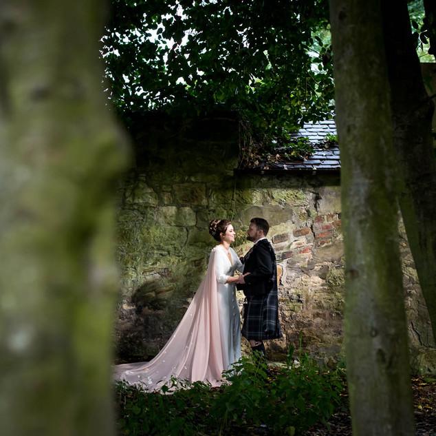 Bespoke Bride Dress - Elegant crepe gown & peach chiffon cape with 3D floral details.