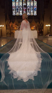 Bespoke Bridal Cape, created using spare lace from Brides dress hem.